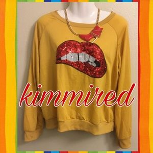 Tops - Mustard Yellow/Red Sequin Lip Sweatshirt ~ 3XL/3X